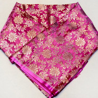 Luxurious Hand Woven Banarasi Brocade Floral Light-Weight Pure Silk Fabric by Yardage