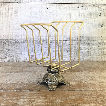 Guest Towel Holder Vintage Napkin Holder Mid Century Towel Holder Hollywood Regency Hand Towel Holder Vintage Brass Mail Holder Vintage Glam