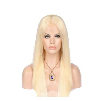 Malaysian Blonde Straight Lace Front Human Hair Wig Pre Plucked With Baby Hair