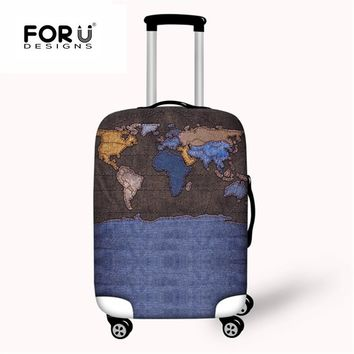 FORUDESIGNS Travel Luggage Suitcase Protective Cover Word Map Elastic Stretch Anti-dust Case Covers For 18-30 inch with Zipper