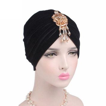 ONETOW Velvet Women Skullies	Cancer Chemo Hat New Arrival Women Beanie Turban Head Beautiful Bead Pendant Wrap Cap