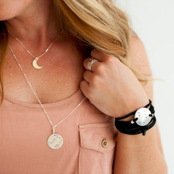 Small gold fill or sterling silver crescent moon necklace, dainty crescent moon, hammered gold fill crescent, gold and silver necklace