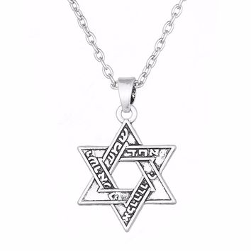 10 Pieces - Antique Silver Jewish Star Of David Pendant Charm Necklaces