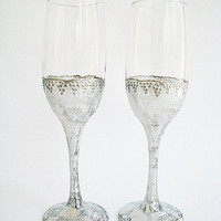 Silver glitter glasses of champagne, Silver decoration glasses, Wedding toast, Champagne toast, Champagne flute, Glittered wineglass