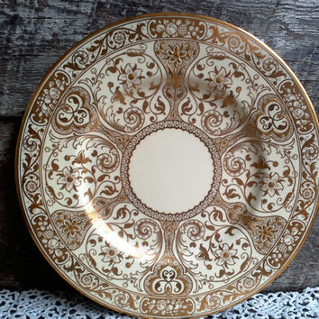 "Gold Dinner Plate, COPELAND SPODE, RARE, Gilded Plate, 10 1/2"", Wedding, Anniversary, China Plate, Holiday, Luster, Gold Gilt, Antique Art"