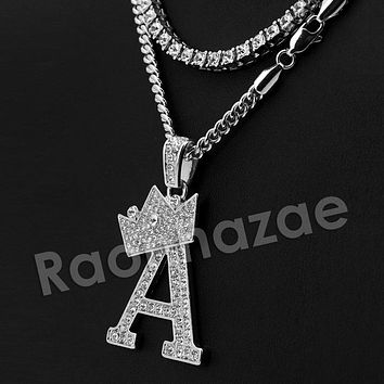 Iced Out King Crown A Initial Pendant Necklace Set (Silver)