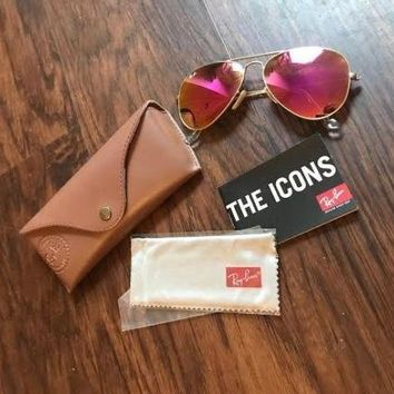 ray ban aviator rose gold womens