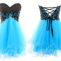 Cute strapless dress blue