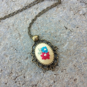 Pink and Blue Flower Necklace, Embroidered Necklace, Antique Brass Pendant, Tiny Brass Necklace