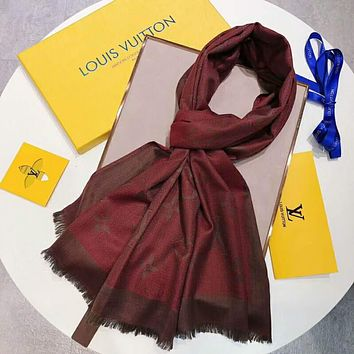 LV Louis Vuitton Trending Women Men Stylish Cashmere Scarf Scarves Shawl Accessories Red I-TMWJ-XDH