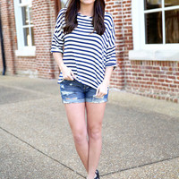 striping beauty top - navy