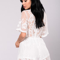 Set Our Love On Fire Romper - White