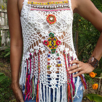 White Handmade Crochet Top with Mirror and Vintage Jewelry, Patches and Fringe. Hippie/Boho style Festival top. One of a kind.