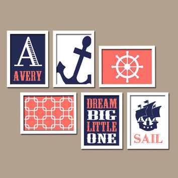 Nautical Wall Art Canvas Nursery Artwork Coral Navy Blue Sail Ocean Sea Anchor Dream Custom Name Set of 6 Prints Baby Decor Crib