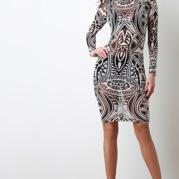 Semi-Sheer Tribal Print Bodycon Dress