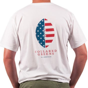 American Made Football Tee in White by Collared Greens