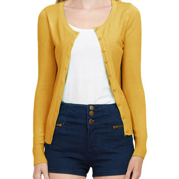 Basic Round Neck Fine Knit Cardigan