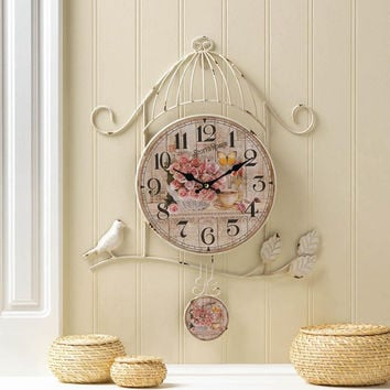 Wall Clock-Birdcage Country Rose