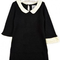 Round Neck Black half sleeve doll collar pullover   style zz91900801 in  Indressme