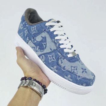 NIKE Air Force 1 Supreme x Louis Vuitton Blue For Women Men Running Sport Casual Shoes