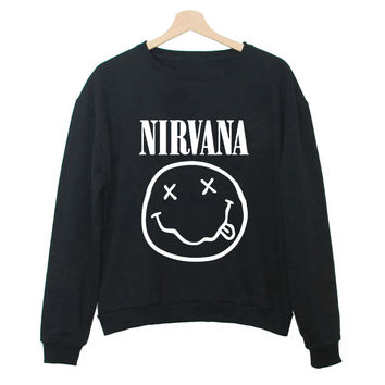 Women's Fashion Tracksuits Harajuku Pullover Nirvana Letters Printed  Casual Korean Pop Long Sleeve Sweatshirts for Female