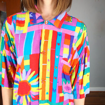 Colorful Blouse 80s Fab Oversized Shirt, Jams World Geometric Print Button Up, Small, Med, Large, XS, XL