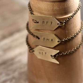 Personalized Hand Stamped Custom Arrow Bracelet