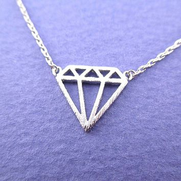 Diamond Outline Shaped Dye Cut Pendant Necklace in Silver