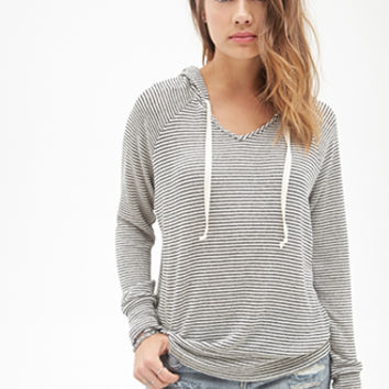 FOREVER 21 Slouchy Striped Knit Hoodie Black/Cream