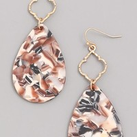 Marble Acrylic Earrings - Taupe