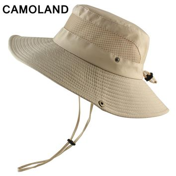 Summer Bucket Hat Breathable Mesh Beach Hat Man Wide Brim Sun Hat Gorra Mujer Men's Outdoors Foldable UV Protection Fishing Caps