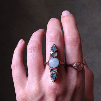 Orb of Night Ring // Size 7 // Rainbow Moonstone, Blue Apatite, Tourmaline Ring