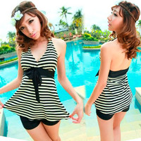 Korea Girl Tankini Halterneck Stripes Two Pieces Swimsuit Shorts Bathing