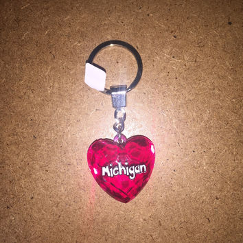 Michigan Diamond Cut Heart Keychain