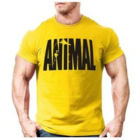 DCCK7G2 Animal print tracksuit t shirt muscle shirt Trends in 2016 fitness cotton brand clothes for men bodybuilding Tee large XXL