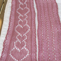 Knit Scarf, Pink Silk Scarf, with Heart Lace Openwork Design, Lightweight Scarf