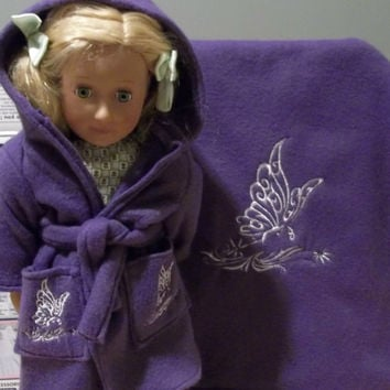 doll robe matching fleece blanket fits american girl doll bed purple blanket white butterfly doll bedding