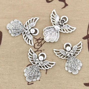 ONETOW 15pcs Charms guardian angel 26*23mm Antique pendant fit,Vintage Tibetan Silver,DIY for bracelet necklace