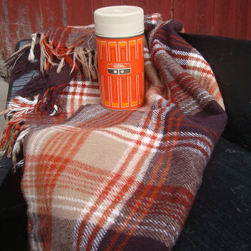 Vintage Thermos Orange Pint  Made In the USA Norwich Conn