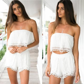 White Tassels Wrap Top with Shorts