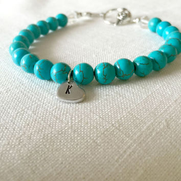 Personalized Bracelet - Turquoise Bracelet - Boho Jewelry - Hand Stamped Bracelet - Gifts for Women - Stocking Stuffer - Gifts for Her