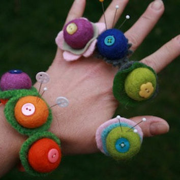 Felt Bead Pin Cushion Ring by beewisegoods on Etsy