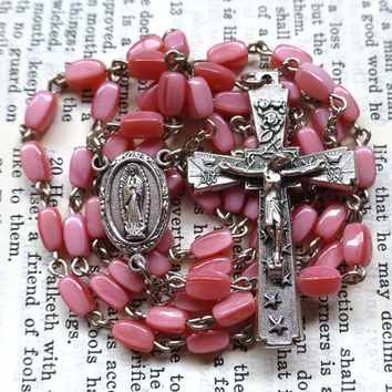 Our Lady of Guadalupe Rosary - Mystical Rose, Pink Rosary, Sacred Heart, Vintage Glass Beads