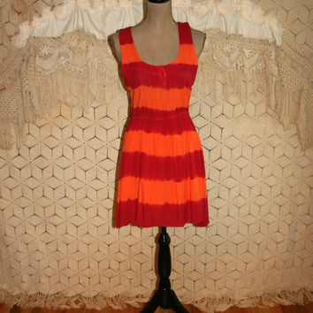 Tie Dye Dress Orange Red Rayon Midi Beach Summer Casual Medium Sun Dress Sundress Racerback Size 8 Dress Womens Clothing