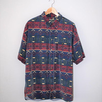 90s geometric print shirt vintage faded cotton button up short sleeve unisex oxford large