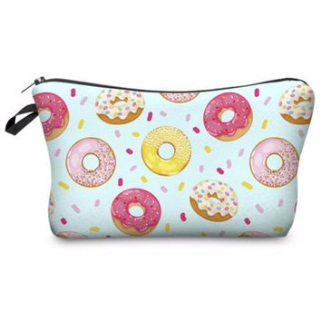 Super Cute Colorful Mint Donut Printed Cosmetic Travel Makeup Bag