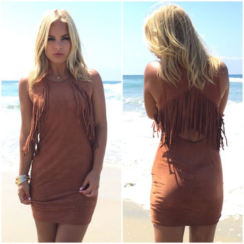 Dixon Suede Fringe Dress In Camel Brown