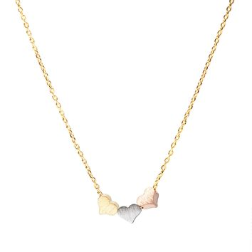 Handcrafted Brushed Metal Tri Color Heart Necklace