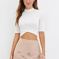 Laser-Cut Faux Suede Mini Skirt