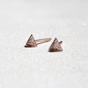 14k Rose Gold Triangular Diamond Stud Earrings - Diamond Pavé Pyramid - Holiday Gift For Her - Simple Minimalist Everyday Jewelry LITTIONARY